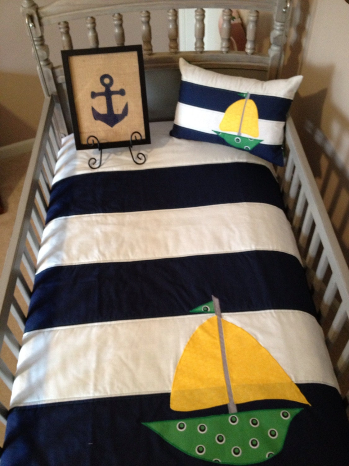 Two Piece Nautical Boy Nursery Bedding W Sailboat Applique In