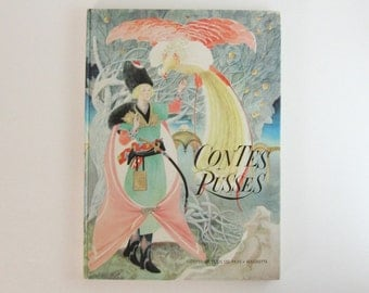 Contes Russes - Vintage French Book Russian Tales Childrens Storybook - Illustrated Book French Language Russian Folk Art - Pastel Book Art