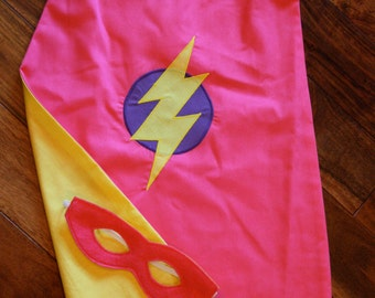 Super Hero Cape and Mask Set for girls - Around the arms cape - Kids cape - Pink and Yellow cape for kids - size 4-6
