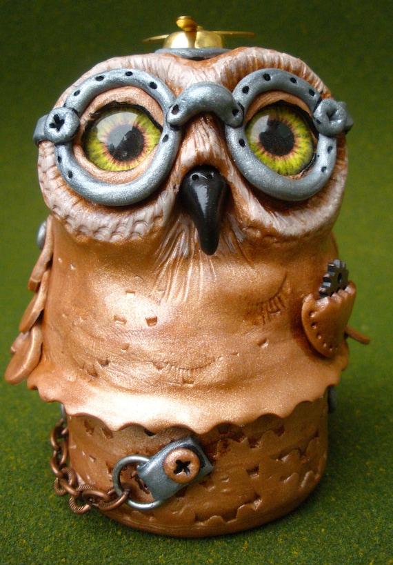 Steampunk owl box in polymer clay
