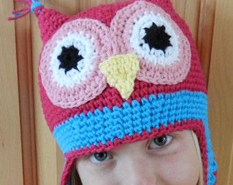 Crochet Hat Pattern - Childs Owl Crochet Hat Pattern - Instant Download