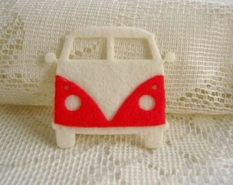 Felt applique, Iron on Applique Lovely White Red Volkswagen, vintage car kid, baby shower, bag supply, shirt decoration,scrapbook, card, F3
