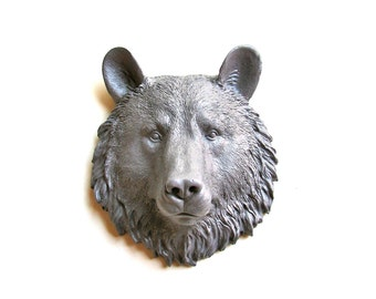 Med. Grey Small Faux Taxidermy Bear Head Wall Mount Wall Hanging in medium GRAY: Bob the Bear // nursery  // grey / mini //