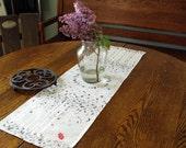 Red Umbrella Birch Tree Linen Table Runner in Shades of Gray