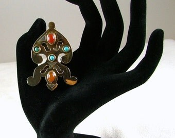 Sterling Silver and Gold Brooch with Turquoise and Carnelian
