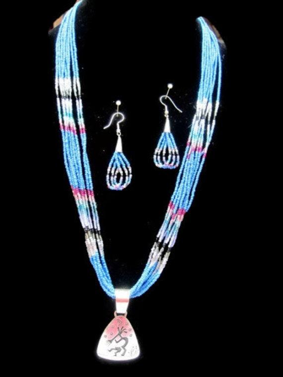 Beaded Kokopelli Sterling Silver  Necklace Earrings