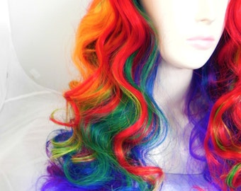 ON SALE // Rainbow No Bangs / Medium Curly Layered Cosplay My Little Pony Wig