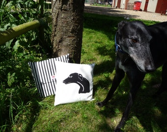 Black Greyhound Cushion - hand pulled screen print with a narrow black stripe reverse