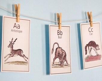 SALE Vintage Alphabet Wall Art  Printable - Vintage Letters Nursery Art - Letters Set of 26 - Instant Download