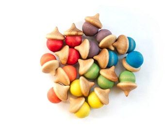 Rainbow Sorting Acorns - Montessori Wooden Toys - Waldorf Preschool Toy - Montessori Wooden Toy - Natural Toy - Counting Colors