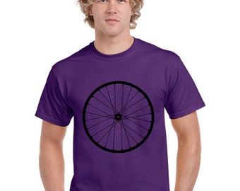 Mens Bike Shirt. Bicycle T Shirt.  Bike T Shirt. Wheel T Shirt. Purple Hand Screen Printed