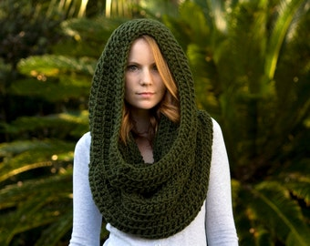 Oversized Hooded Cowl, Infinity Scarf, Olive Forest Green Crochet Scarf