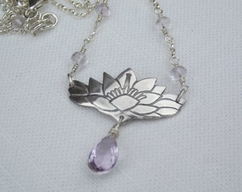 Magnolia and pink amethyst necklace