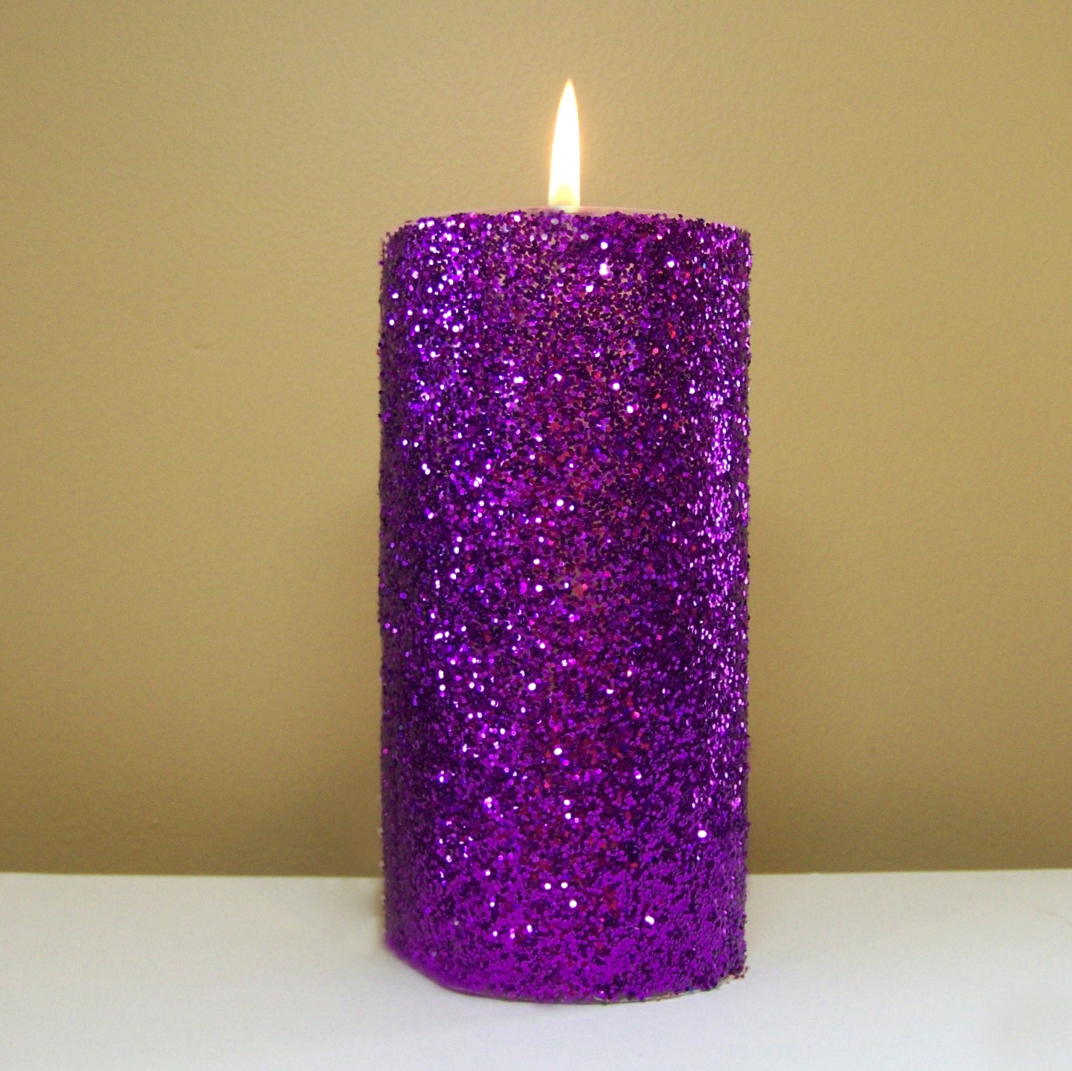 purple glitter pillar candle wedding by stillwatercandles