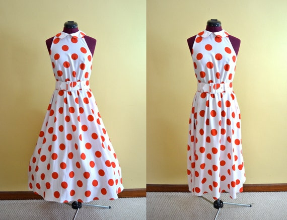 1970s Vintage Ambria Large Polka Dot Red and White Dress size S M bust 32
