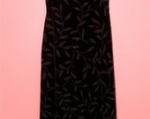 XS Extra Small Vintage 90s LBD Velour Velvet Beaded Design Cocktail Alternative Prom Indie Grunge Punk Sexy Minimalists Tank Maxi Gown Dress