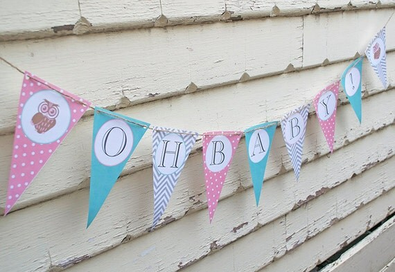 Owl Baby Shower Banner DIY INSTANT DOWNLOAD By Paper Bear