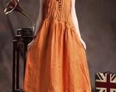 Linen Dress ,Ruffle Linen Dress in Orange , linen cocktail dress,Long linen sundress , Loose Tunic Dress, line gown, XL,XXL, plus size A8005