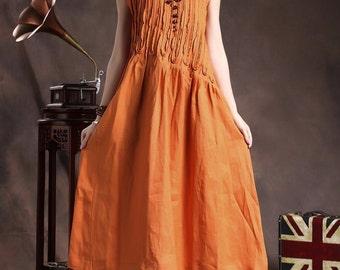 Linen Dress / Ruffle Linen Dress in Orange / Long linen sundress / Loose Tunic Dress / Asymmetrical Top, XL,XXL, plus size A8005