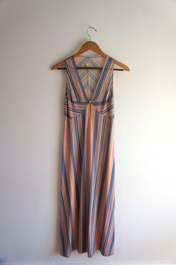 vintage rainbow stripe maxi dress