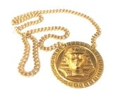 SALE Gold Pharaoh Necklace // Gold Chain // Versace Inspired