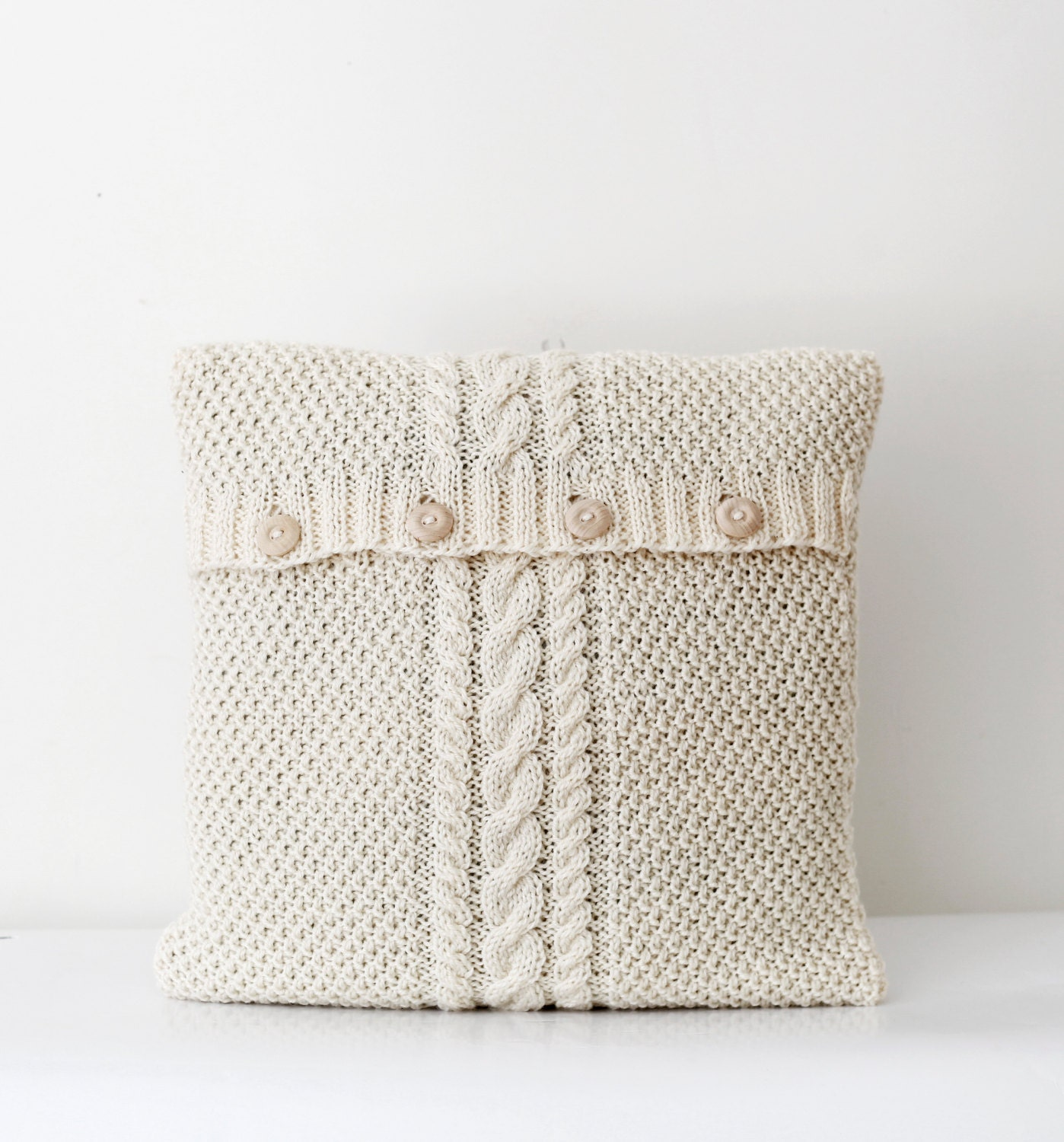 Cable hand knitted new pillow cover white milk decorative