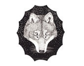 Giclee Print Double Vision Celestial Wolf Illustration 5 x 7""