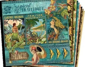 """Graphic 45 """"Tropical Travelogue"""" 12x12 Paper Set - 1 of each 10 design papers - 10 sheets Cardstock"""