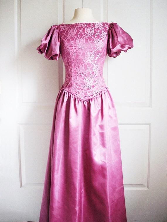 Vintage 80s Dress Satin Ball Gown Purple Mauve Evening