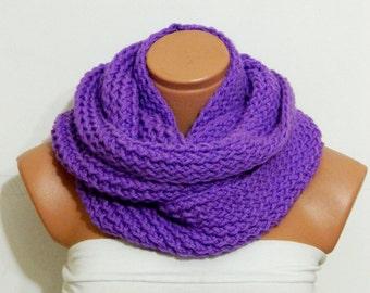 Knit infinity Scarf,Nomad scarf,Block Infinity Scarf.Loop Scarf, Circle Scarf, Neck Warmer. Lilac Crochet Infinity