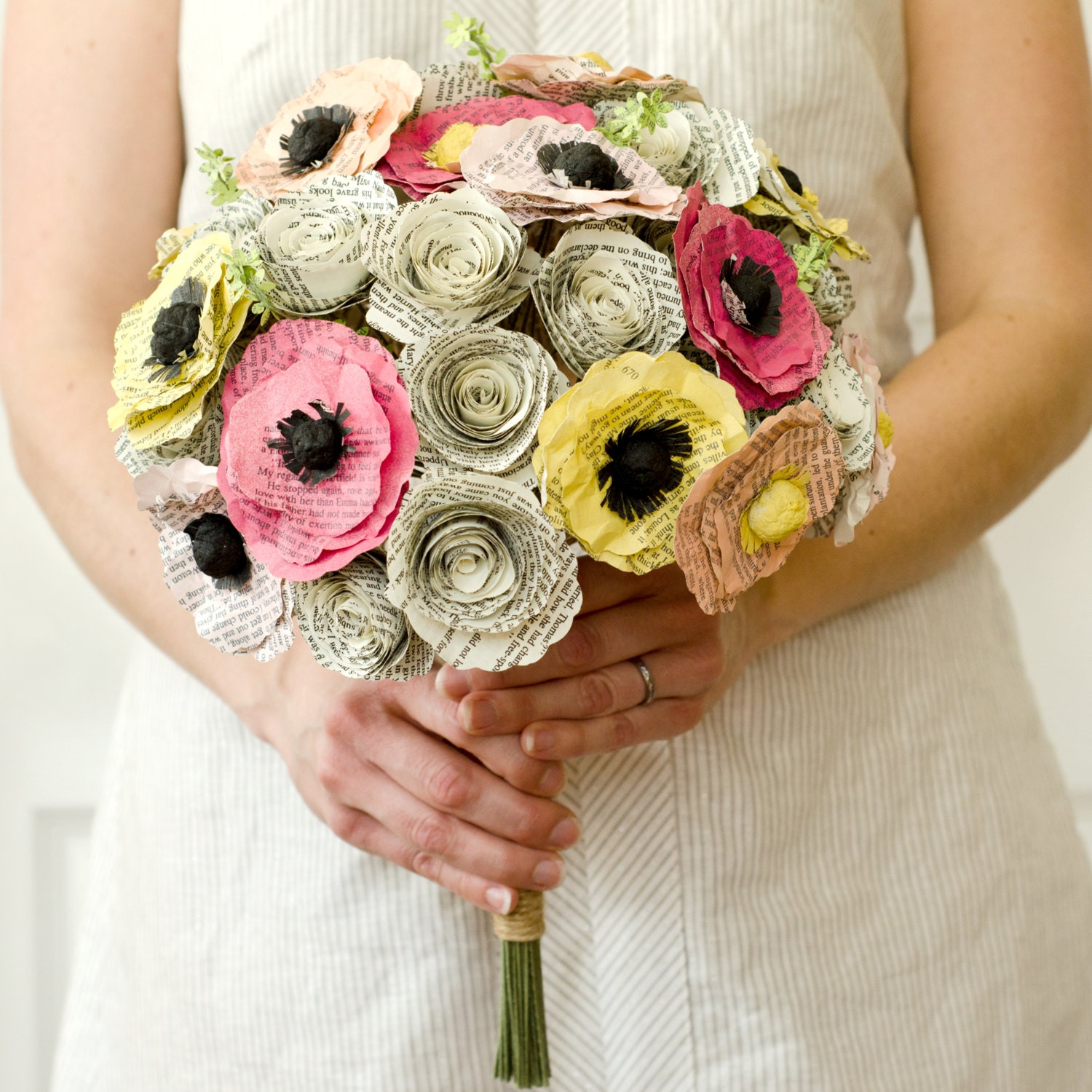 spring bridal bouquet made from the novels of by anthologyonmain. Black Bedroom Furniture Sets. Home Design Ideas