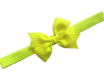 Neon yellow headband with matching 3 inch bow - neon yellow bow headband, newborn headband, baby headband