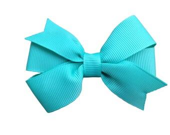 Tropical green hair bow - sea green bow, 3 inch bow, pinwheel bows, 3 inch hair bows, toddler bows, baby bows, girls hair bows