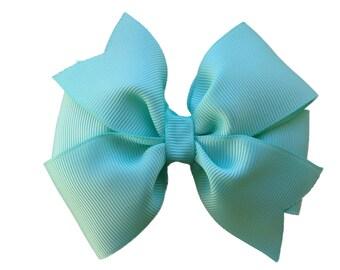 Aqua hair bow - aqua bow, 4 inch hair bow, pinwheel bows, girls hair bows, girls bows, toddler bows, hair clips, blue hair bows