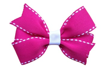 Pink with white stitch hair bow - Valentines hair bow, pink & white hair bow, girls hair bows, 3 inch bows, toddler bows, hair bows