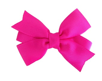 3 inch hot pink hair bow - hot pink bow, pink hair bows, girls hair bows, girls bows, 3 inch bows, toddler bows, pink bow, girls pink bows