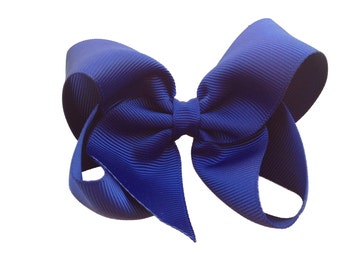 4 inch navy blue hair bow - navy blue bow, boutique bow, navy hair bows, girls hair bows, girls bows, 4 inch bows, toddler bows, hair clips