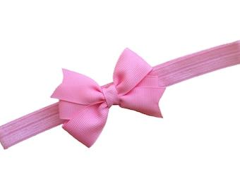 Pink bow headband - pink baby headband, baby headband, newborn headband, baby bow headband, baby girl headband