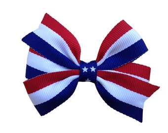 Red white & blue hair bow - Fourth of July bow, patriotic bow, red white blue bow