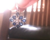 Sapphire & Diamond Cluster Pendant in 14K White Gold