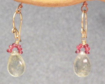 Pink ruby and moss aquamarine earrings Victorian 281