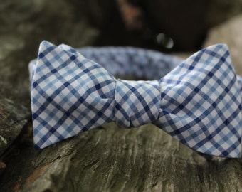 "Blue Tattersall Button Adjustable Freestyle Bow Tie (14.5""-18-5"")"