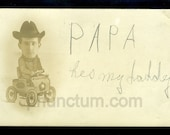 He's My Daddy RPPC Silly Head in Hole Arcade Antique Real Photo Postcard Papa in Tiny Car