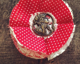 SALE!! Country Spirited Art Nouveau, Red Polka Dot & Lace Hair Accessory/Brooch