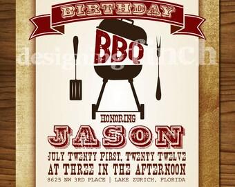 BBQ Birthday Invitation, Customizable, Printable #101