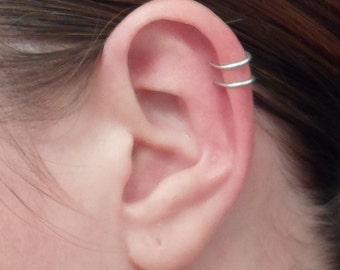 Double loop Ear cuff, Sterling Silver OR Gold filled 14k. 20 ga or 18 ga. Cartilage. Fake piercing. No Pierced ear cuff. Hypoallergenic.