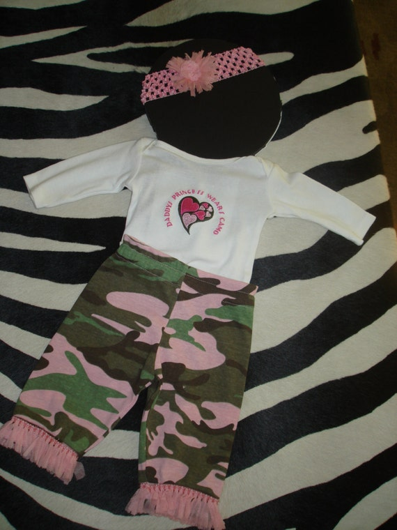Baby Girl Pink Camo Outfit Pink Fringe Daddys Princess Size 0-3 Months Long Sleeve Onesie Headband Pants Infant