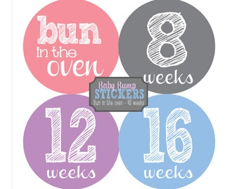 Pregnancy Belly Stickers, Bun in the Oven - 40 weeks, Pregnancy Stickers