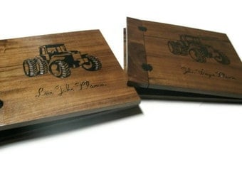 Wood Scrapbooks Set of Two Customized - 12x12 -Woodburnt With Your Design