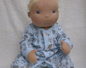 """RESERVED for Aimee. Fretta's Life Size Waldorf Baby. 22"""" Gender neutral, all natural Steiner's Doll. Blonde / Blue Eyes baby doll"""